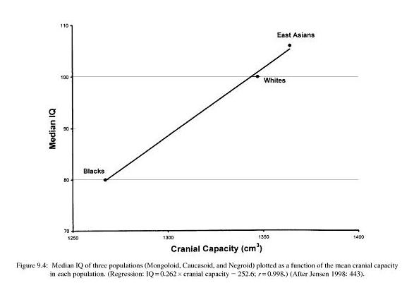 Capacité cranienne et Q.I des africains, européens et est-asiatiques